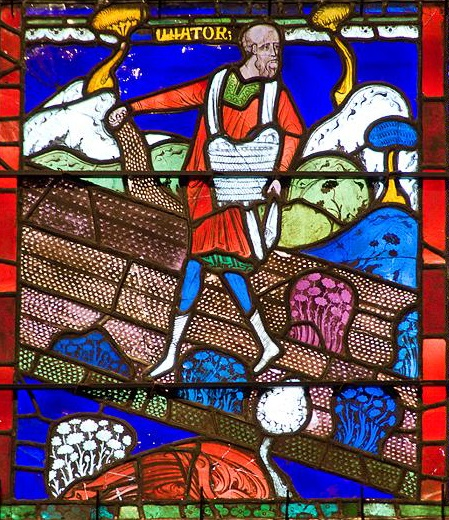 A stained glass image for the parable of the sower from the Canterbury Cathedral.