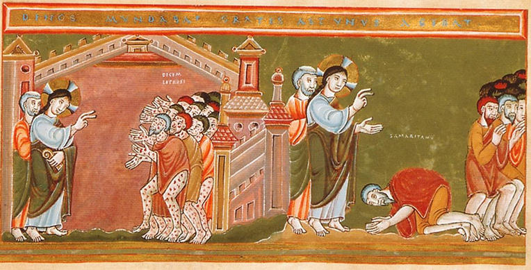 Cleansing of the Ten Lepers from the Codex Aureus Epternacensis