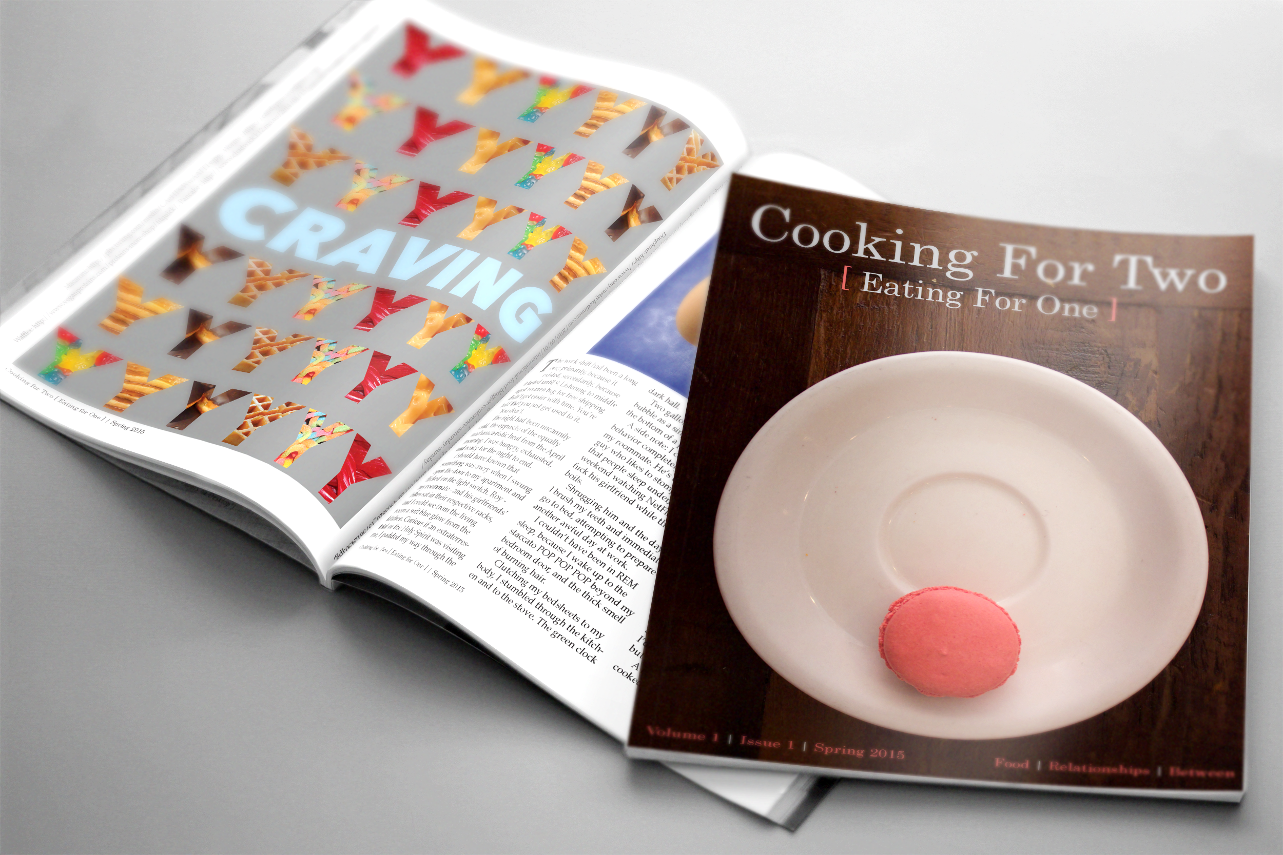 """""""Cooking for Two, Eating for One"""" magazine project."""