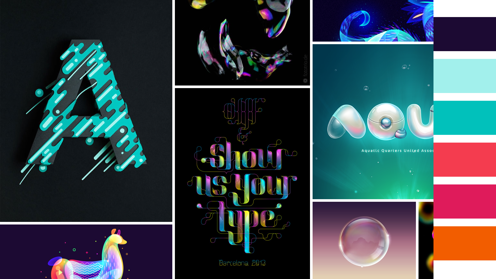 """""""Bubble"""" moodboard:  the color gradients and general quirky and relaxed nature of bubbles inspired this approach."""