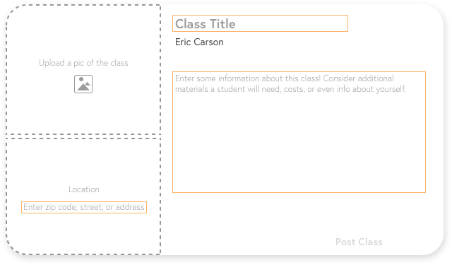 Users can create a class by entering information in a class card template.