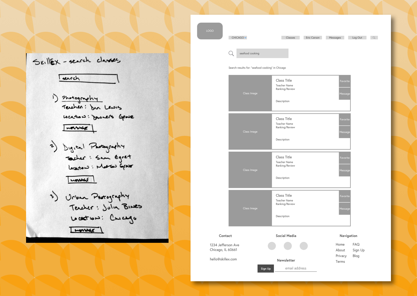 The biggest changes I wanted to implement from the wireframe sketches were to create a navigation menu, a footer, and use cards to contain and organize information.