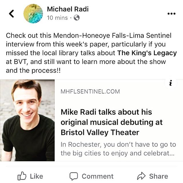 Check it out at: https://mhflsentinel.com/mike-radi-talks-about-his-original-musical-debuting-at-bristol-valley-theater/ . . . #thekingslegacymusical #localboy #interview #writer #composer #bvtnaples #bvt2019 #newworksinitiative #newmusical #musicaltheatre #mhflsentinel