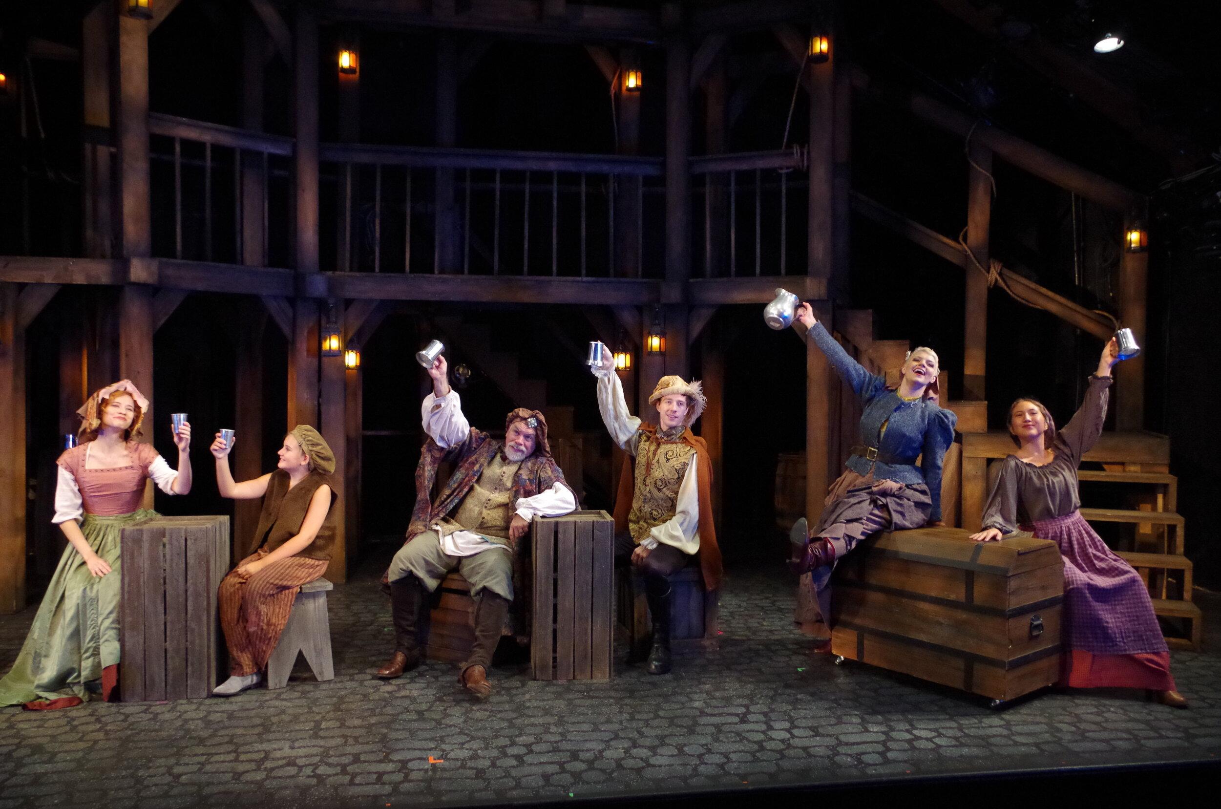 Hannah Karpenko, Bunny Baldwin, Mark Poppleton, Michael Radi, Leigh Martha Klinger, and Alex Loucks in  The King's Legacy  at Bristol Valley Theater (Photo by Rich Miller)
