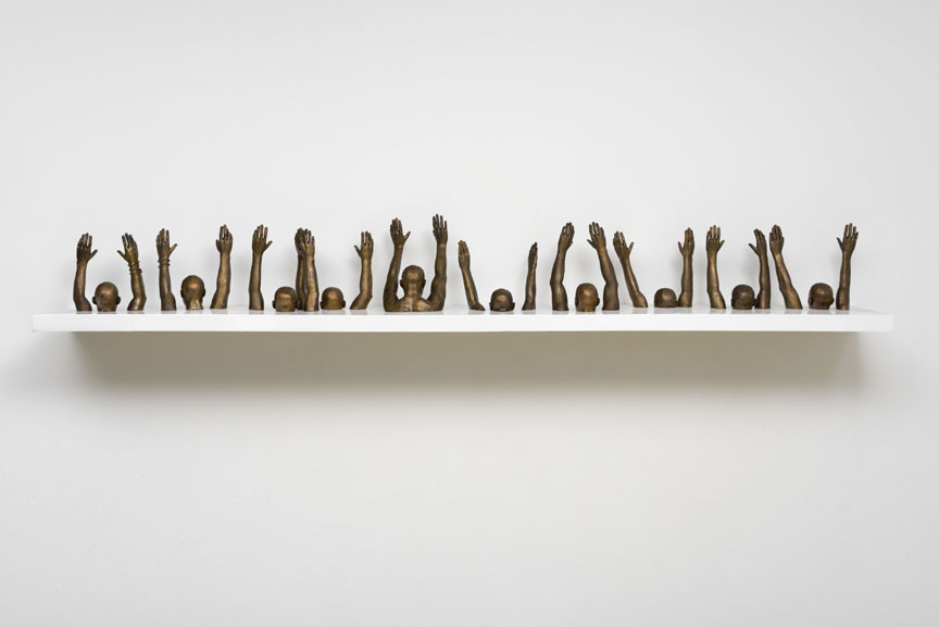 Hank Willis Thomas,  Raise Up , 2013 bronze, 9.84 x 112.2 inches (25 x 285 cm) Courtesy of the artist and Jack Shainman Gallery, New York.