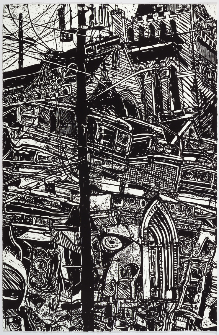 John Scott, Cathedral, 2003 Woodcut print, Edition of 10, 60 x 40 inches Courtesy Arthur Roger Gallery