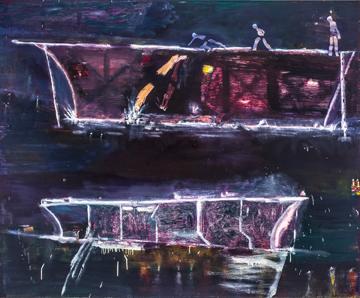 "Night Divers, oil on canvas, 68"" x 80"" 2013  Private collection, Atlanta, GA."