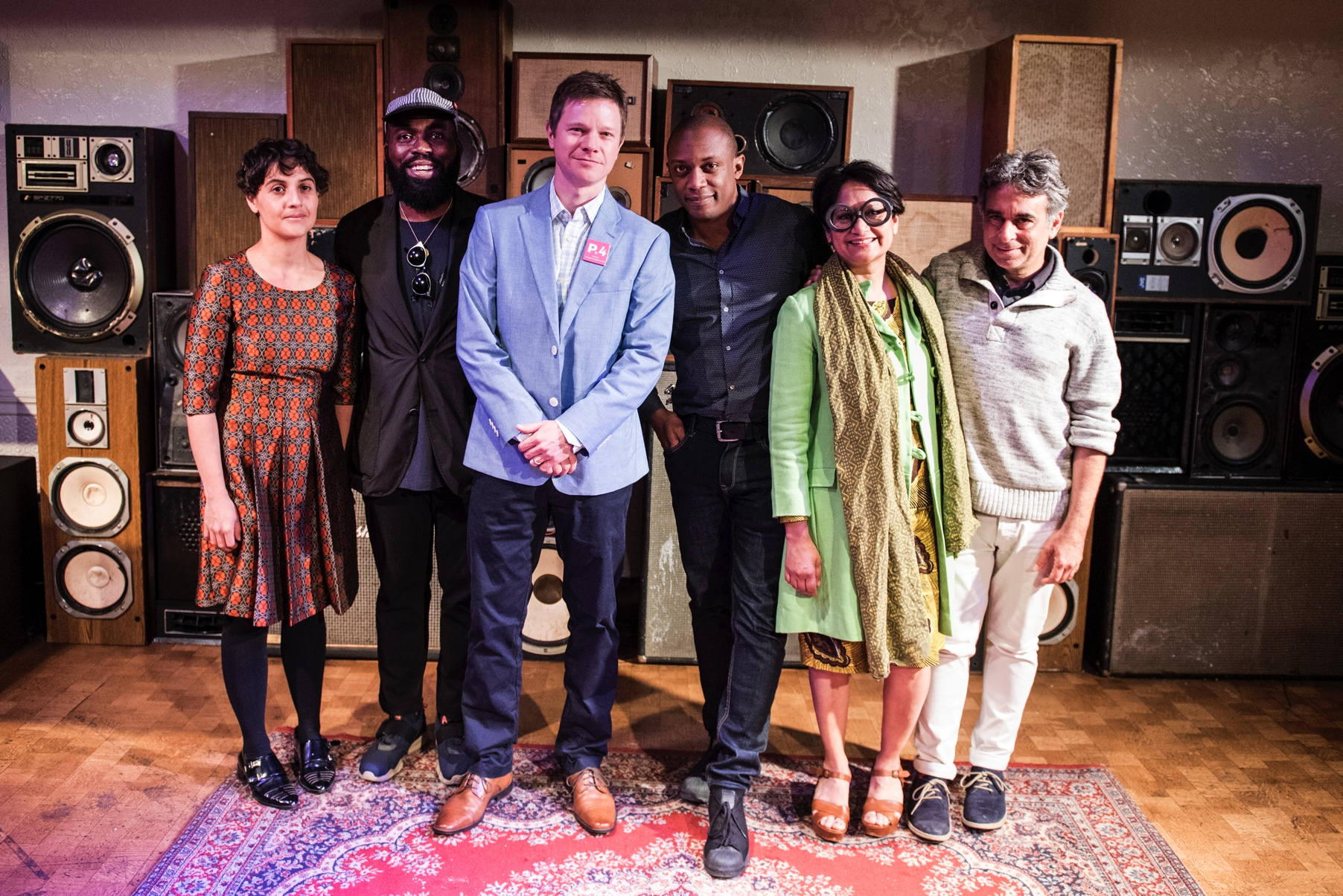 From left to right: P.4 Artists Maria Berrio and Derrick Adams with P.4 Artistic Director Trevor Schoonmaker, P.4 Artists Hank Willis Thomas and Rina Banerjee, and P.4 Artistic Director's Council Member Omar López-Chahoud.
