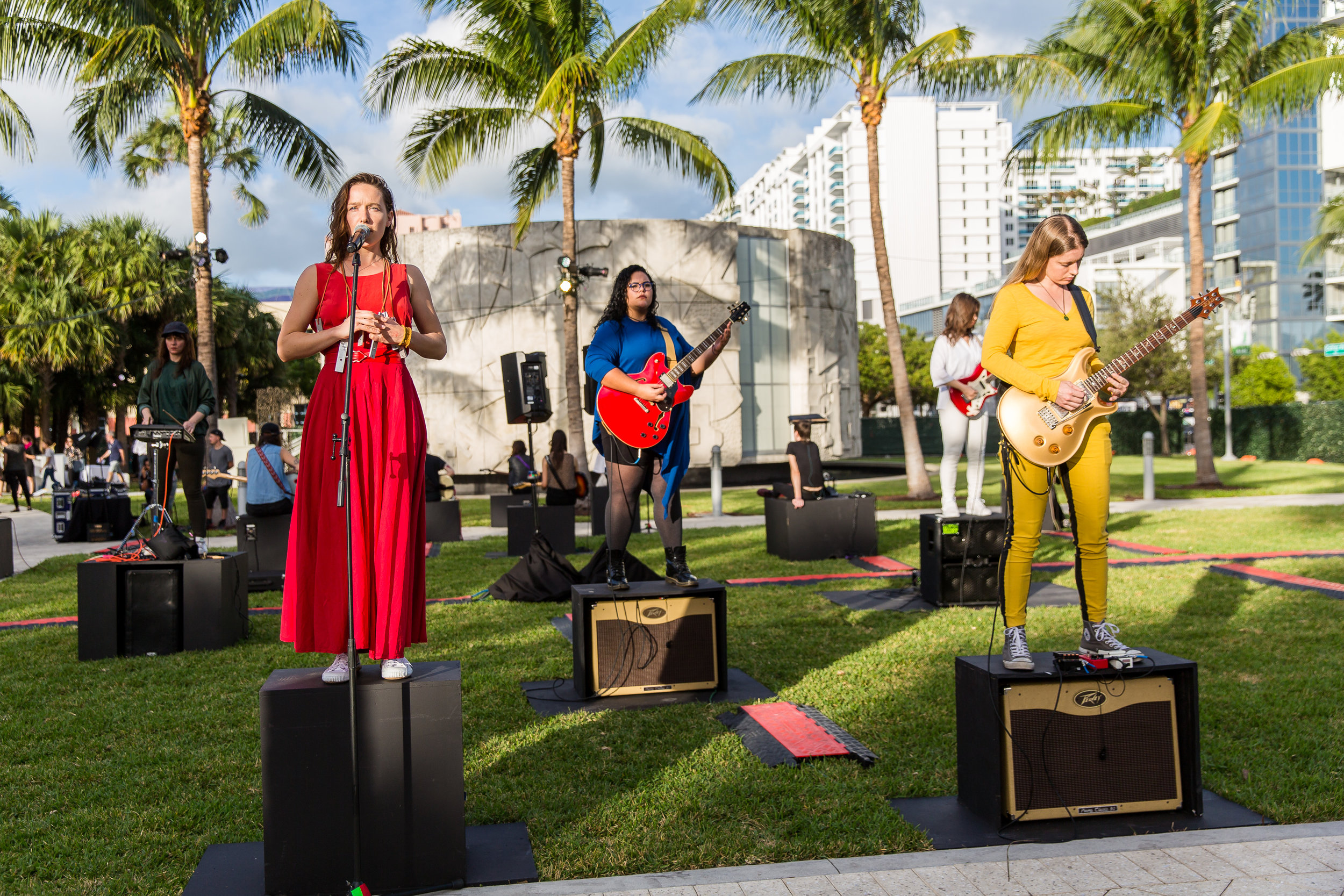 Naama Tsabar.  Composition 18 , 2016 Performance at Collins Park, Miami Beach, as part of Art Basel Miami Beach Public, curated by Nicholas Baume, Miami Beach Image courtesy the artist, Art Basel, and Spinello Projects