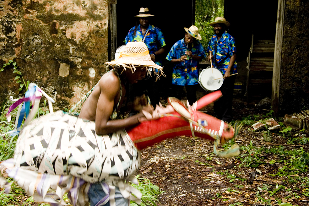 Sonya Boyce, DOnkey Man (production still from Crop Over, 2 Channel Video), 2007 photograph by William J Cummins