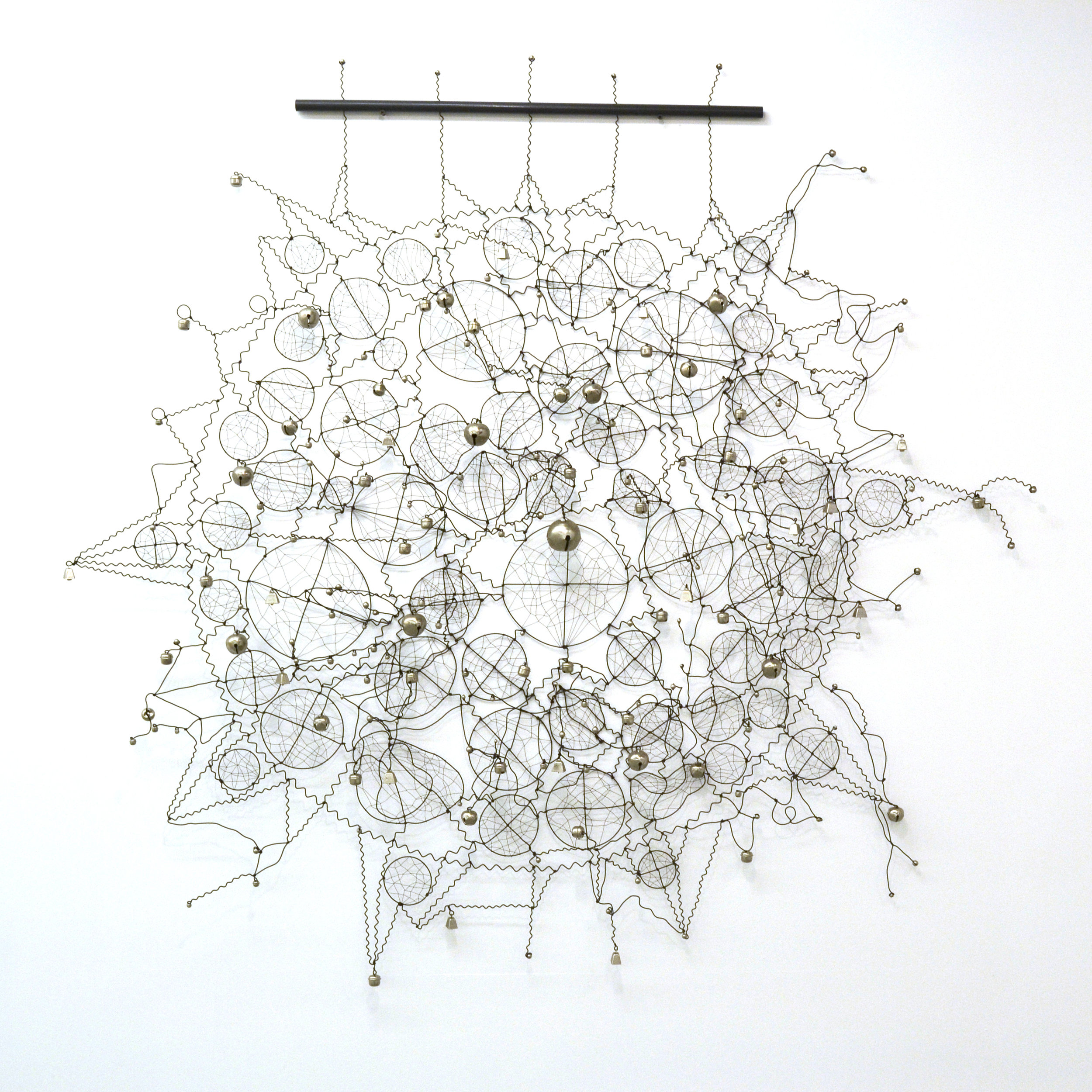 "Brad Kahlhamer,  Super Catcher III , 2015 wire and bells, 60"" diameter x 6 inches width ©Brad Kahlhamer.  Courtesy of the artist and Jack Shainman Gallery, New York."