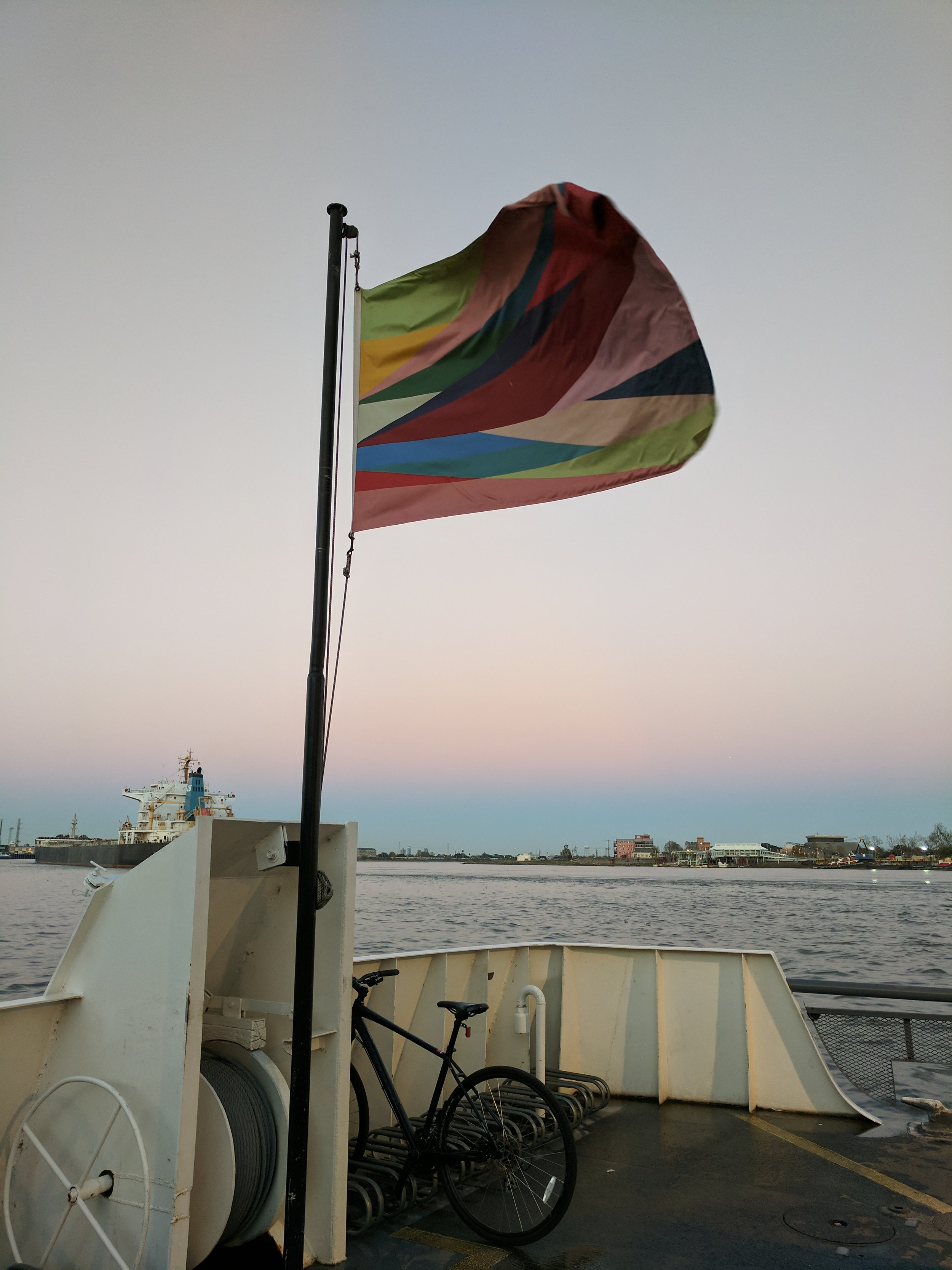 """Odili Donald Odita """"Indivisible and Invincible: Monument to Black Liberation and Celebration in the City of New Orleans, 2017"""" on Algiers Ferry"""