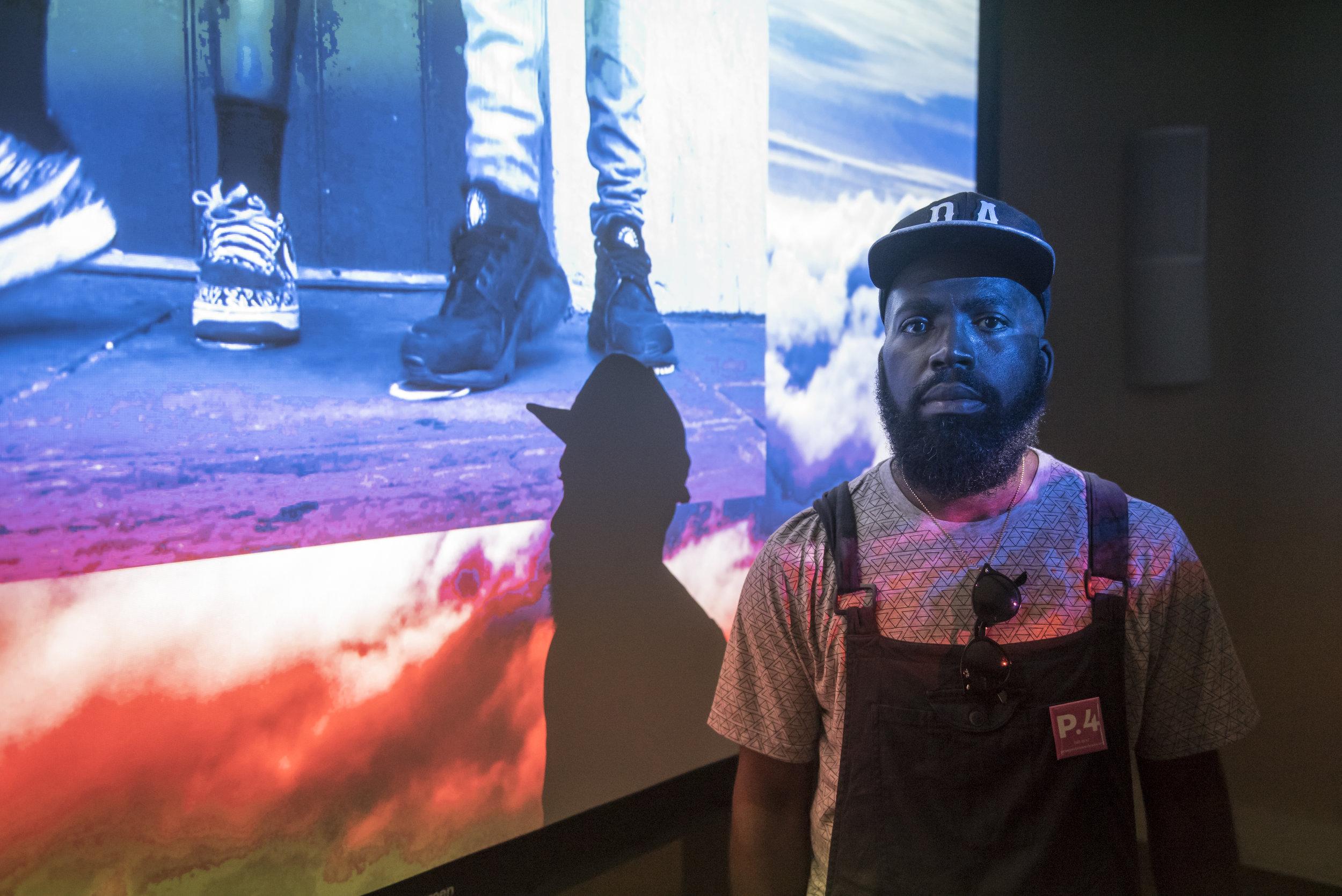 "Derrick Adams with Video Installation ""Saints March"" 2017"