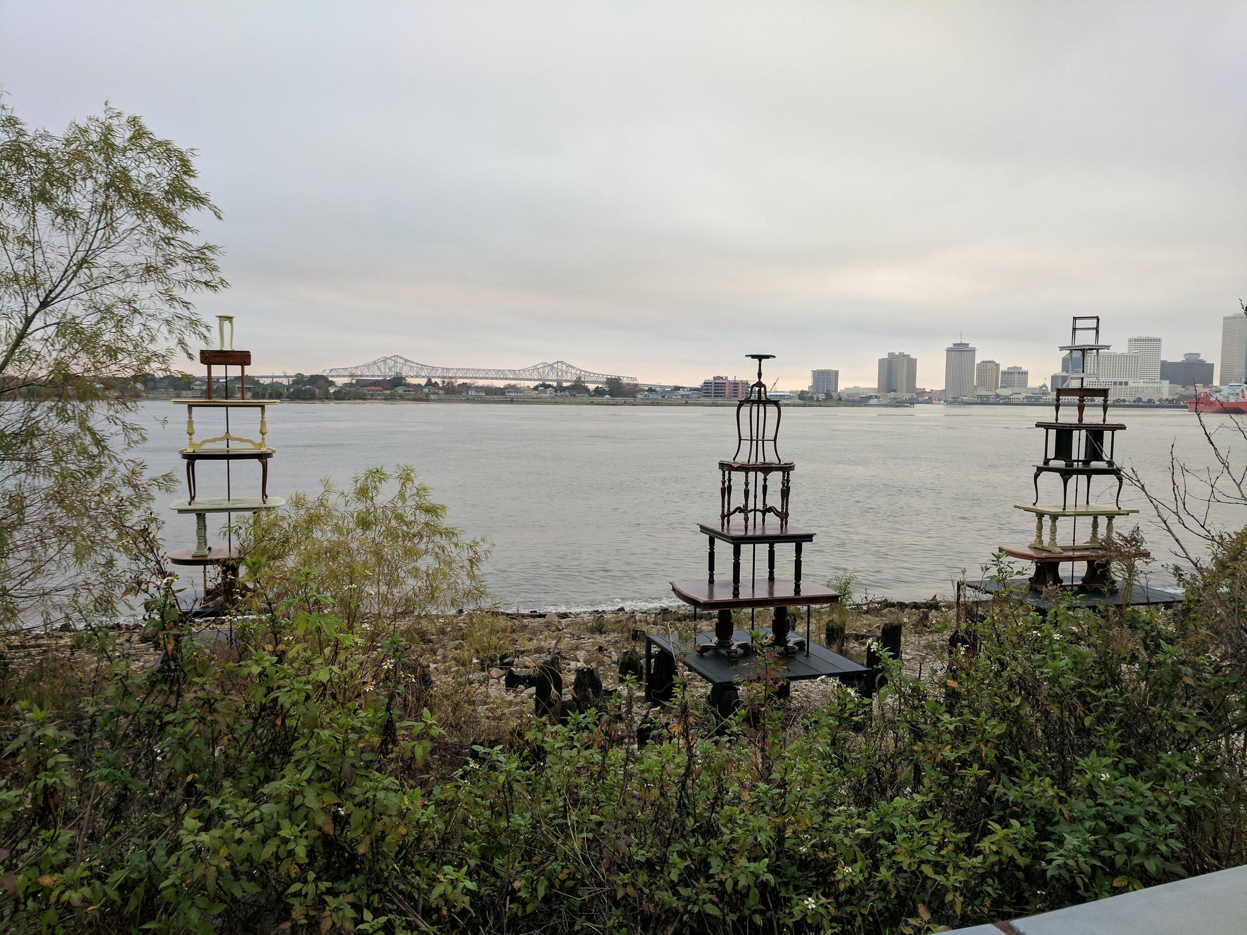 "Jennifer Odem's ""Rising Tables, 2017"" Installation View at Crescent Park"