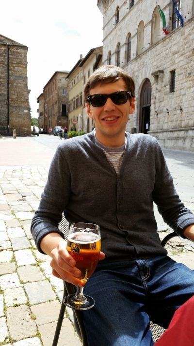 Adam enjoying a beer in the town square in Montepulciano.