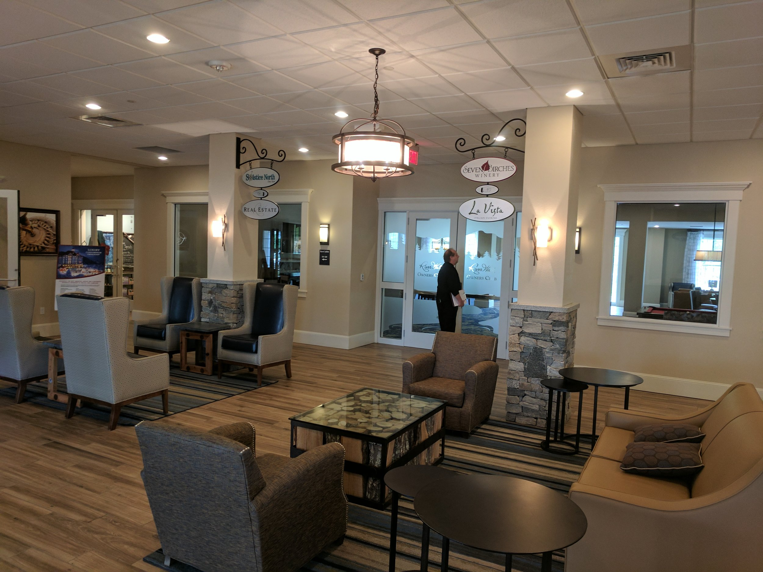 The lobby, which has access to the resort's on-site winery, restaurant, bar, and real estate company.