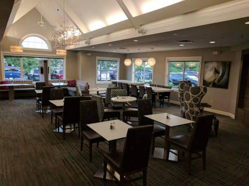 The seating area for guests to enjoy breakfast or light fare.