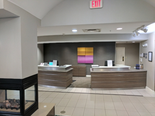 A clean check-in area.