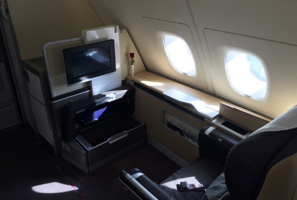 Lufthansa Airbuss a380 1st Class. Image courtesy of Eric Rosen/TPG.