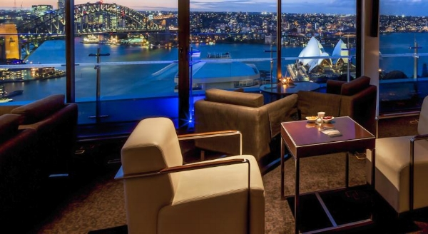 Harbor view from the Intercontinental Sydney lounge. Image courtesy of Intercontinental.