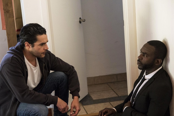 Christopher Abbott and Jimmy Akingbola rehearsing a serious scene.