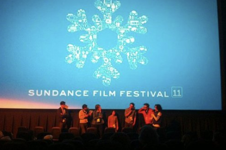 Cast and Crew on stage at the premiere.