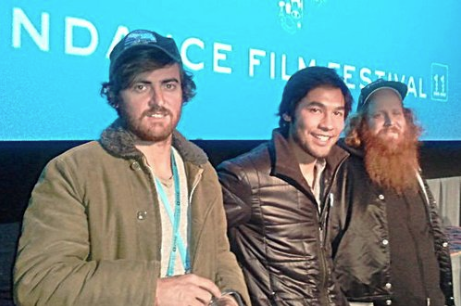 Director Carlos Puga, Cinematographer Brandon Li, and star Patrick Lowery on stage.
