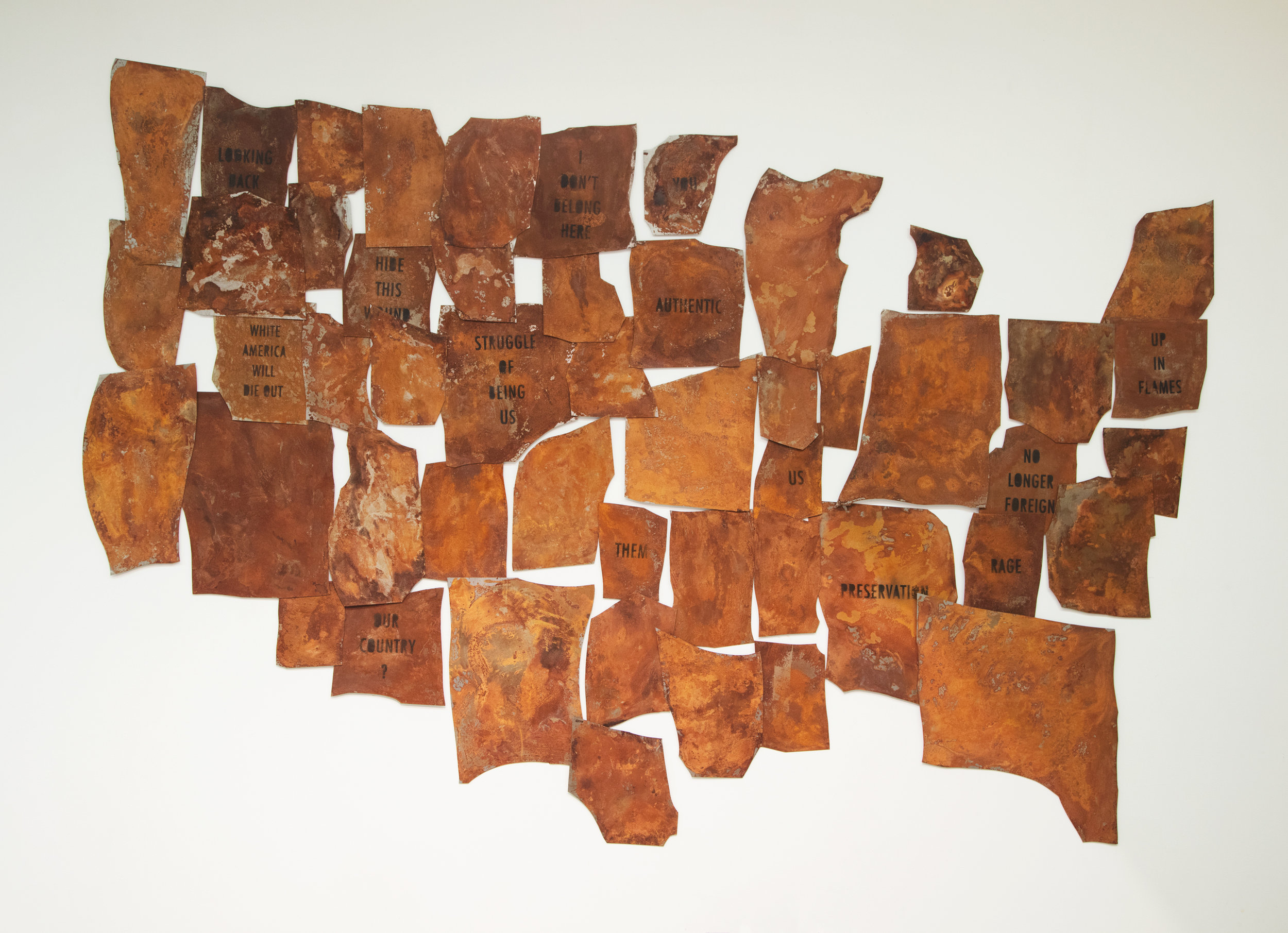 Rupture, 2017  rusted steel, urethane paint  132 x 108 inches  50 hand cut and rusted steel plates