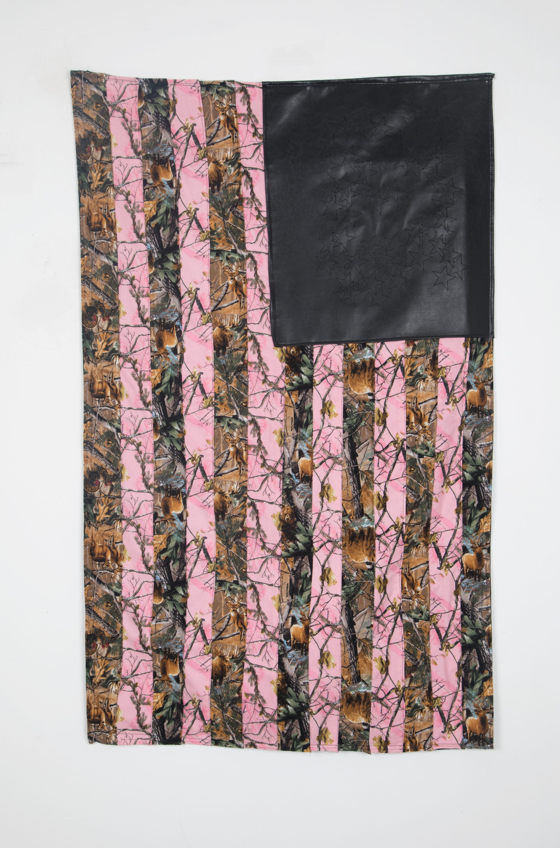 Real Country (Flag #1)  real tree camo fabric, faux leather, digitally embroidered stars
