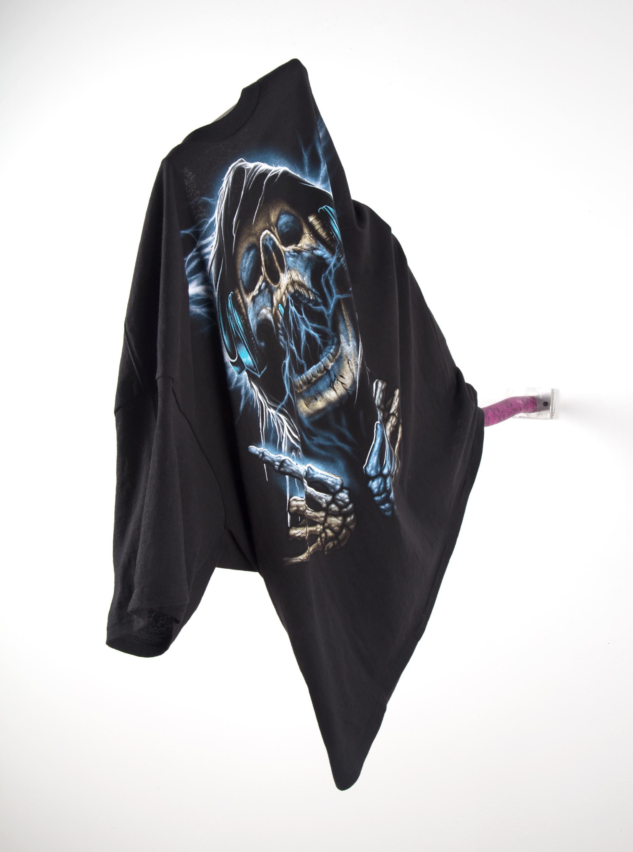 (Reaper Rocks)  t-shirt, leather, aluminum, rivets