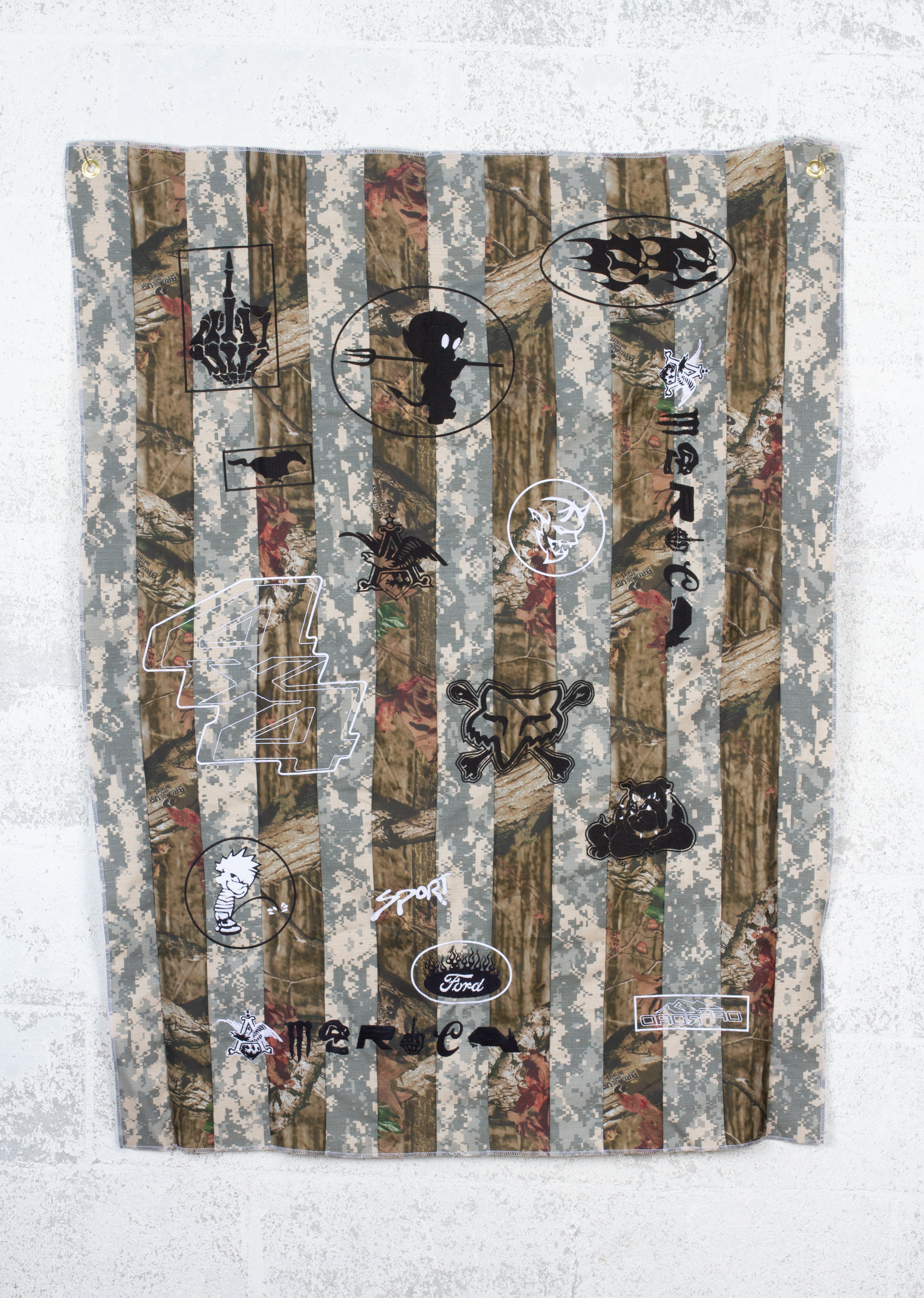 What Makes a Flag American? #2 (digi camo/break-up infinity camo), 2018  3x5 feet  fabric, embroidered logos, hardware