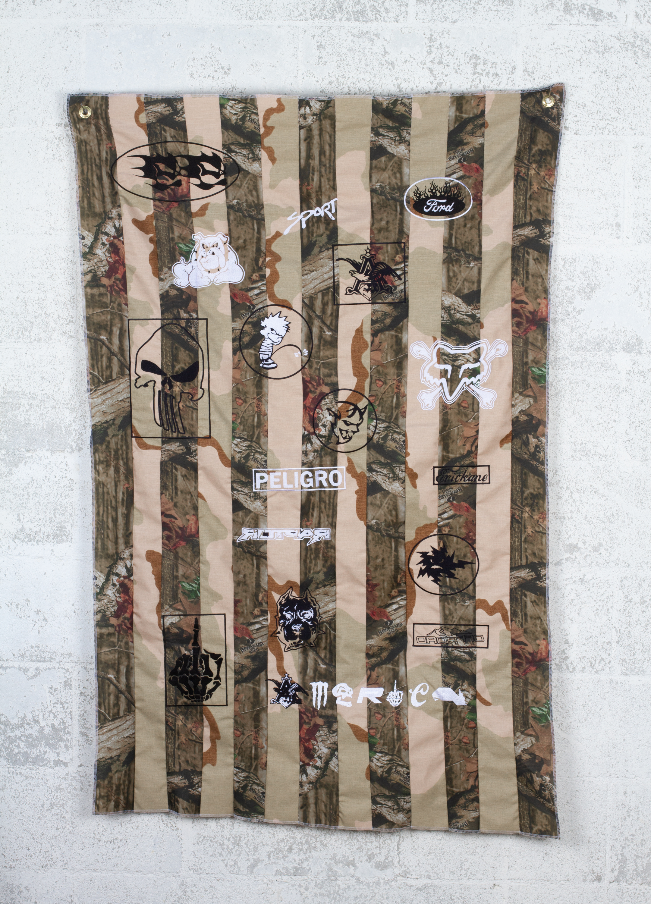 What Makes a Flag American? #1 (desert storm/break-up infinity camo), 2018  3x5 feet  fabric, embroidered logos, hardware