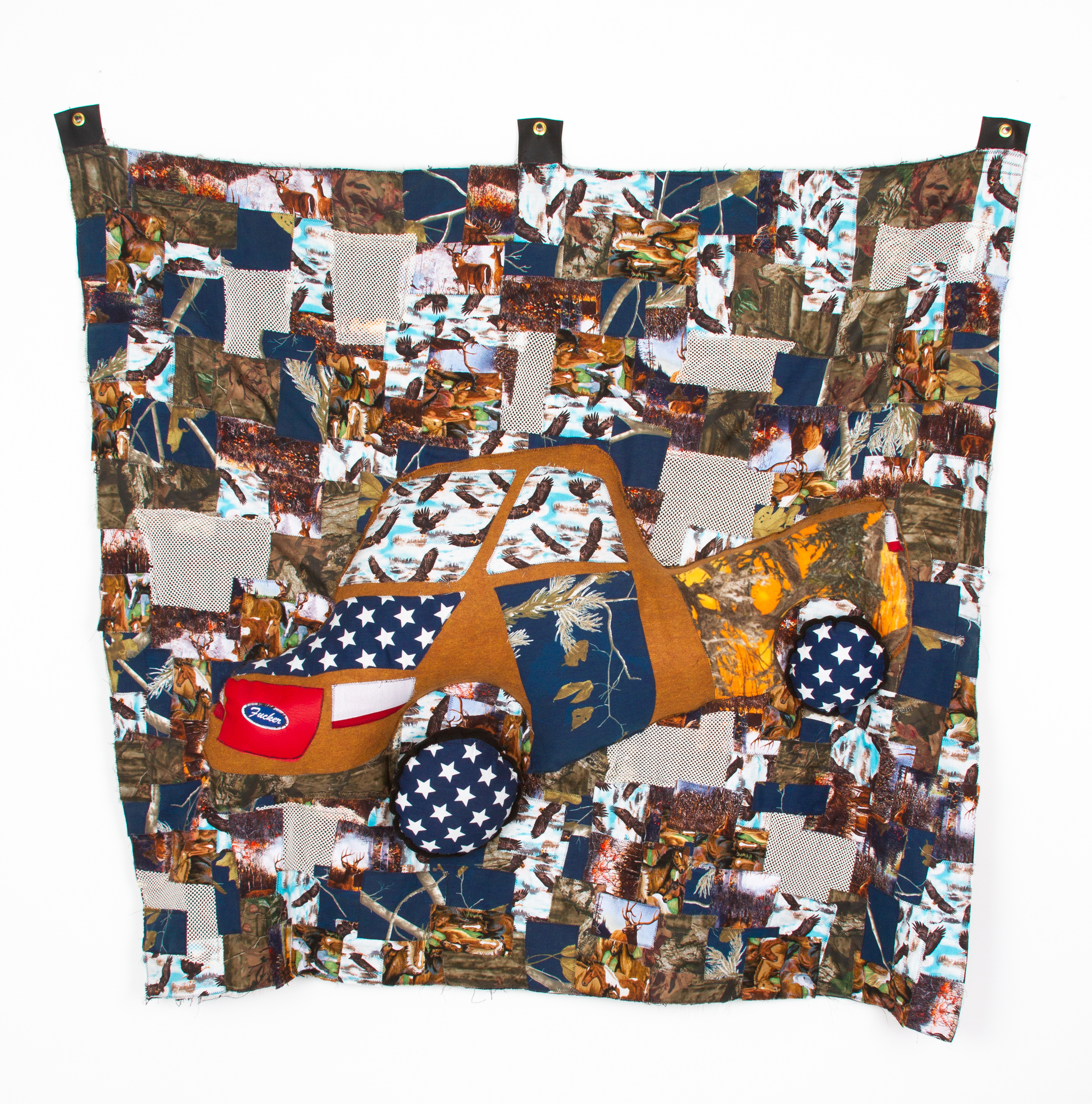 American Fucker, 2019  found textiles, found patch, hardware, polyester fill  57.5 x 58.5 x 7 inches