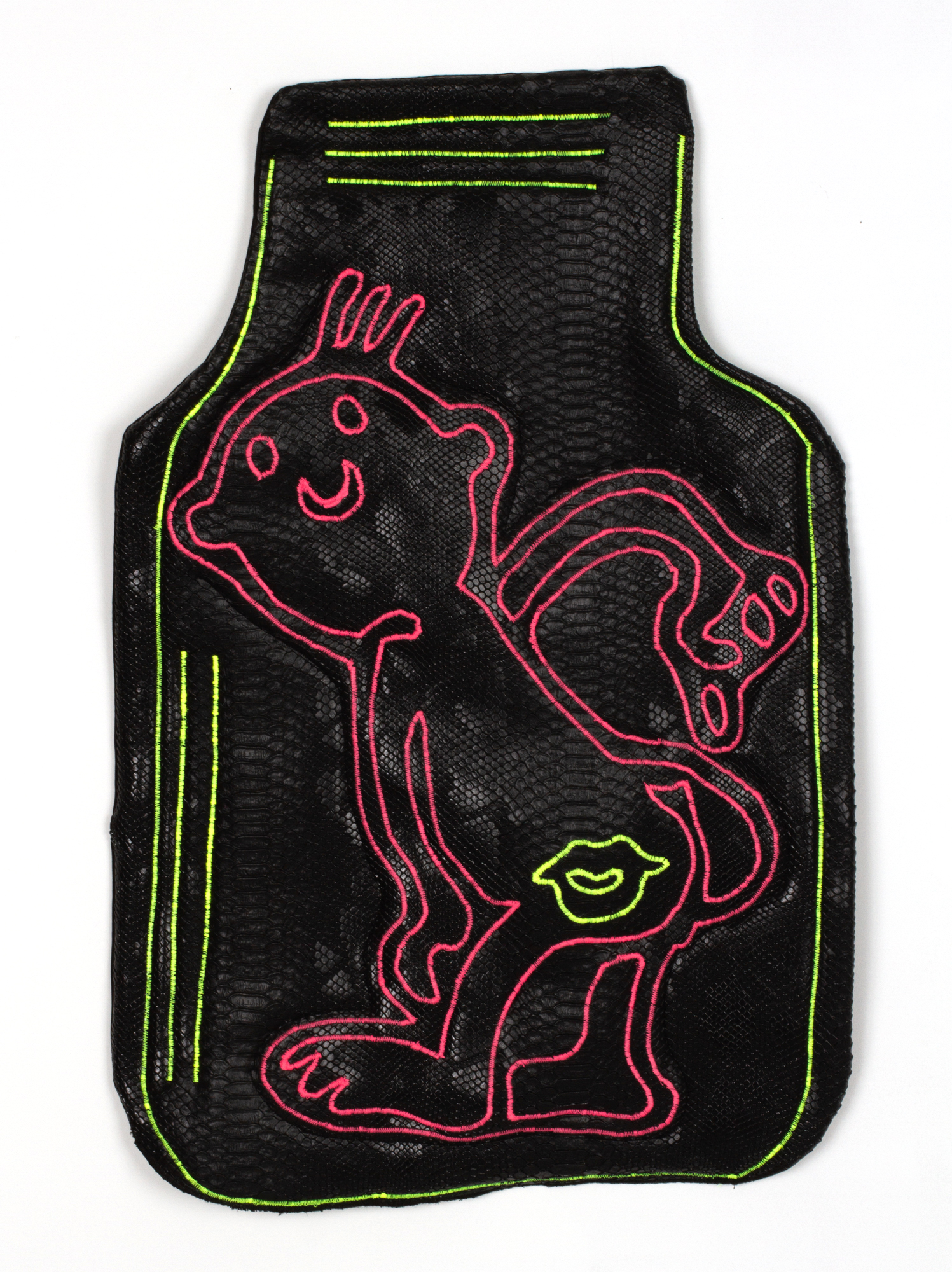 Kiss My Ass (Truck Floor Mat), 2019  faux snake leather, cotton fabric, thread, polyurethane foam, hardware  17.5 x 26 inches