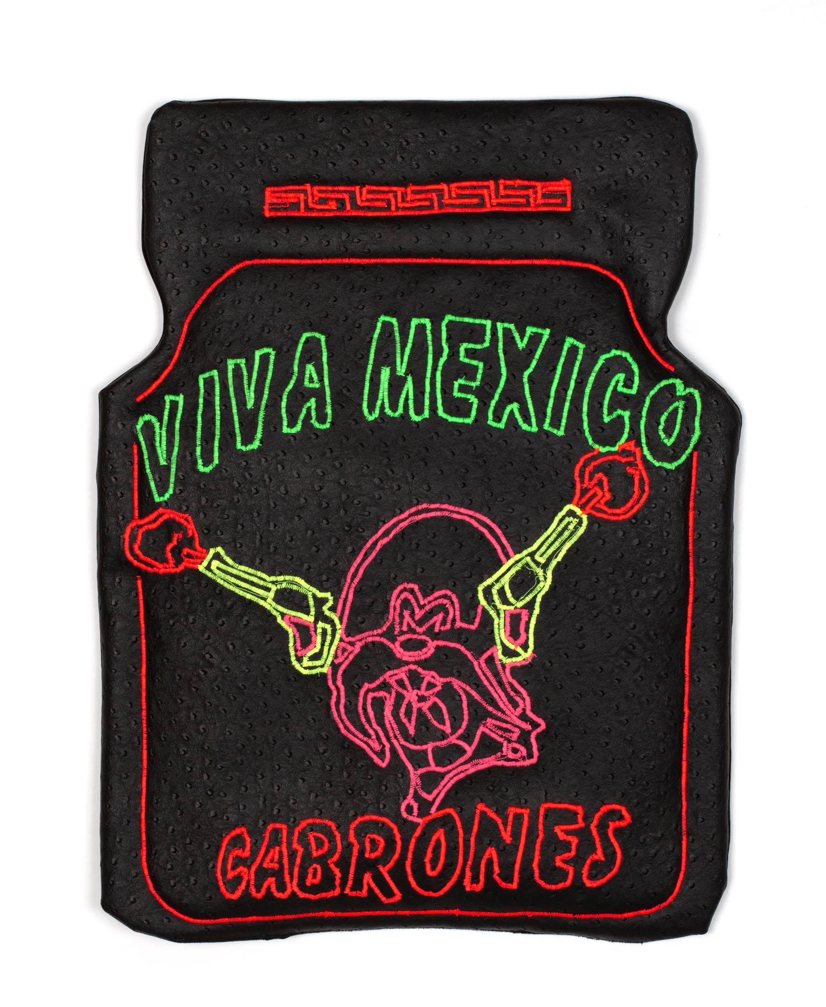 Viva (Truck Floor Mat), 2019  faux ostrich leather, cotton fabric, polyurethane foam, thread, hardware  17 x 23 inches