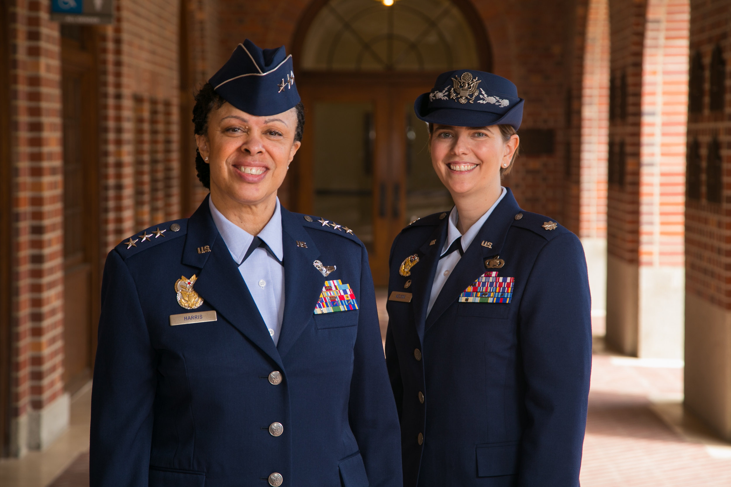 Lt. Gen. Stayce D. Harris (left): A University of Southern California alumna and the current Inspector General of the United States Air Force.  Lt. Col. Olivia D. Nelson (right): Former Department Chair of Aerospace Studies, University of Southern California.