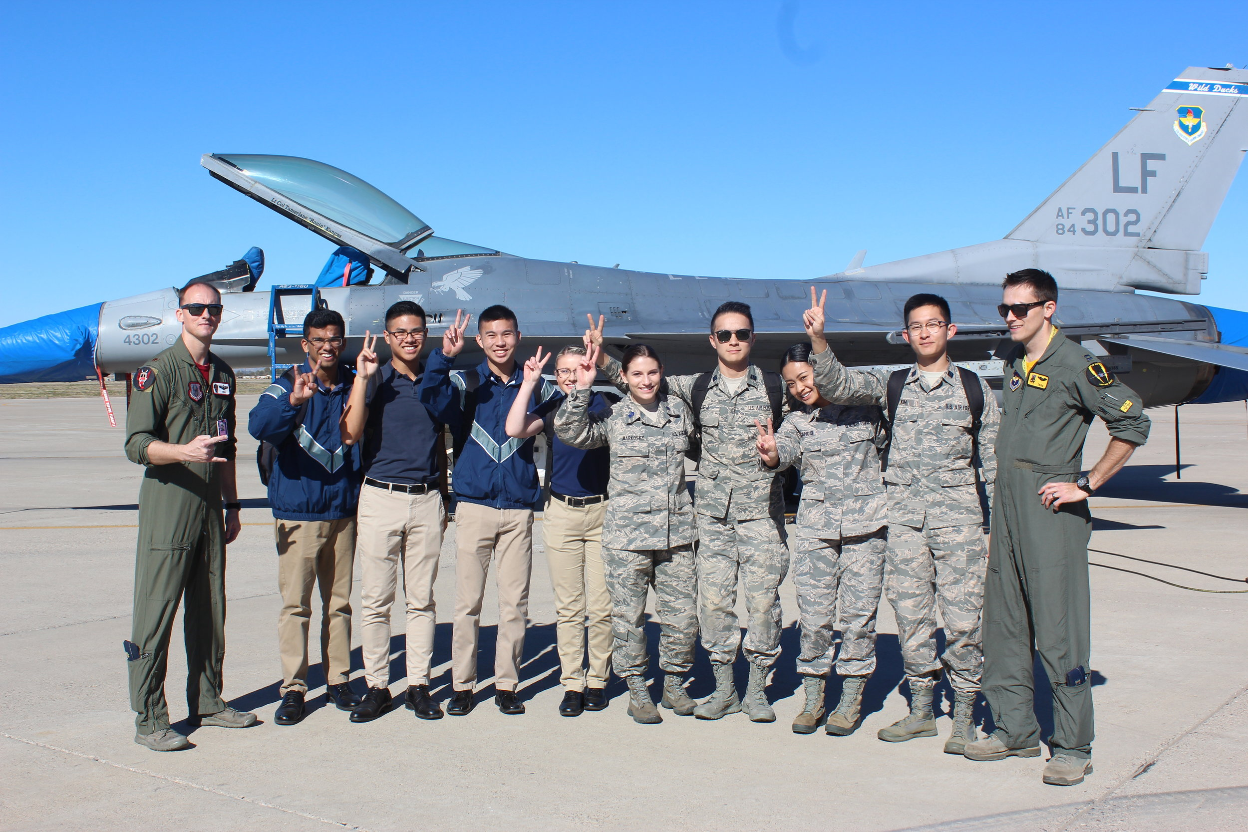 base visits - Cadets visit Air Force bases as part of their professional development requirement. Most recently, Detachment 060 visited the Test Pilot School at Edwards AFB and met several USAF Thunderbirds pilots at Luke AFB in Arizona. These visits provide cadets with an idea of what life is like after commissioning as an officer and helps them explore potential career fields. Traveling out-of-state is an incredible opportunity for cadets to bond and boost morale during challenging training months.