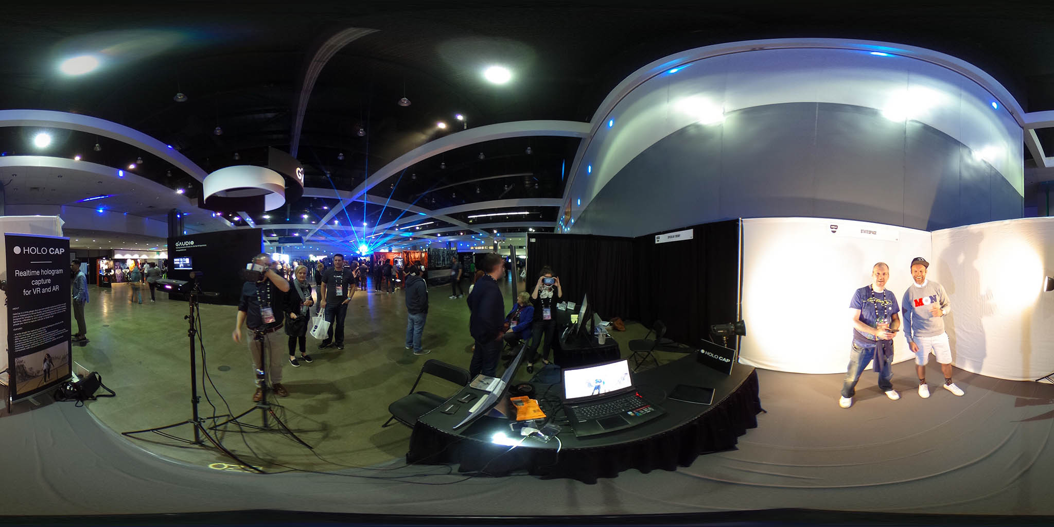 The HoloCap booth at VRLA 2017 with yours truly and Peder Børresen of HoloCap being captured in real-time while Stian Børresen of HoloCap watches in VR.