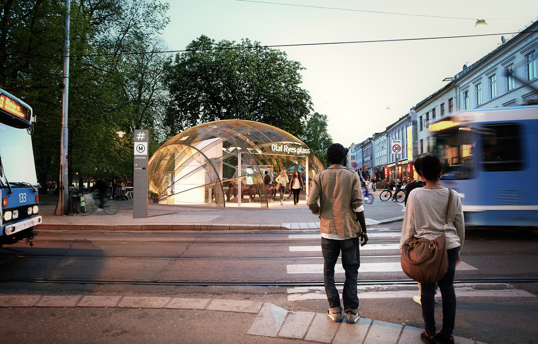 My highly speculative conceptual design and visualization for a future metro at Grunerløkka in Oslo, the casual every-day story contrasting the once-a-year sports event portrayed in the Bislet image at the top of this post.