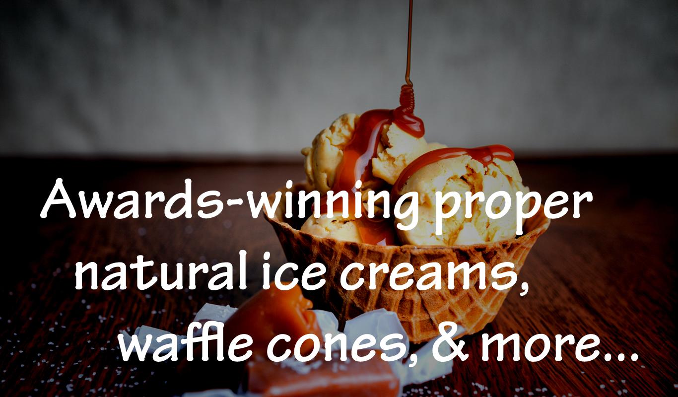 Welcome p 1 - bowl of IC w caramel on wood  w wording Awards-winning proper....jpg