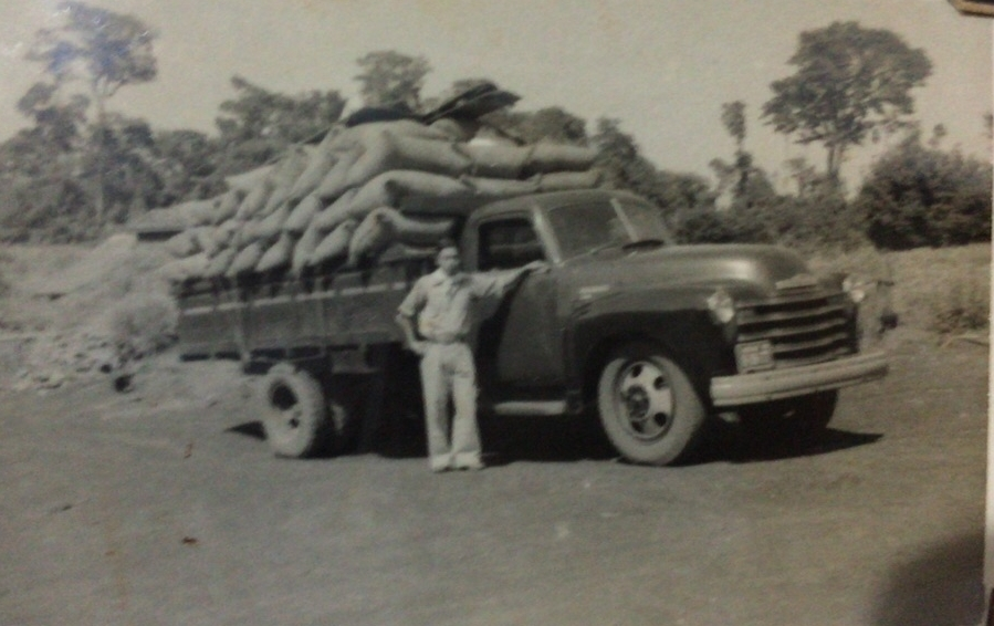 Goro Minami with truck full of coffee bags