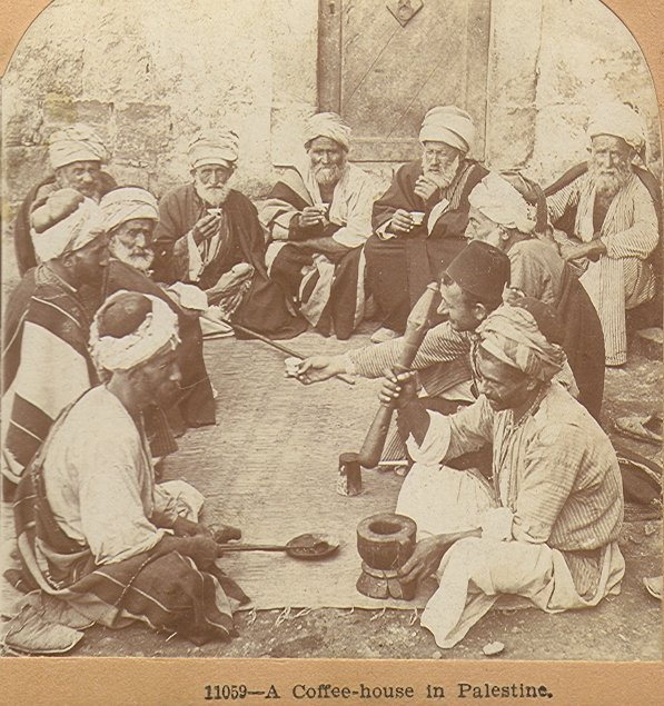 Coffee in Palestine 1900. Stereoscopic image of Keystone View Company.