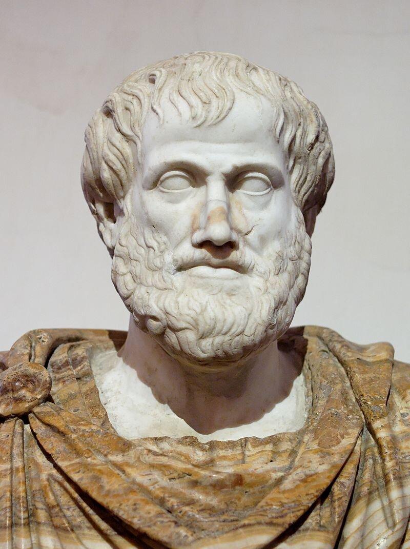 Image from Wikipedia. Busto de Aristóteles. Cópia romana de uma escultura de  Lísipo