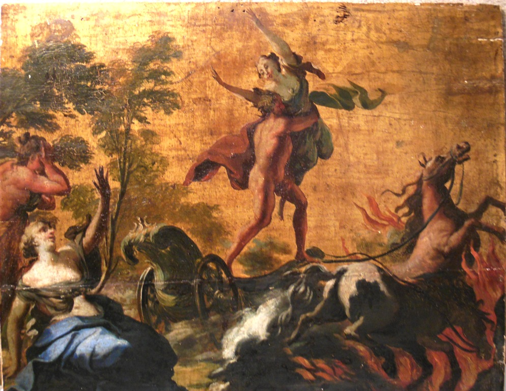Oil painting of Hades abducting Persephone. 18th Century PAINTER UNKNOWN