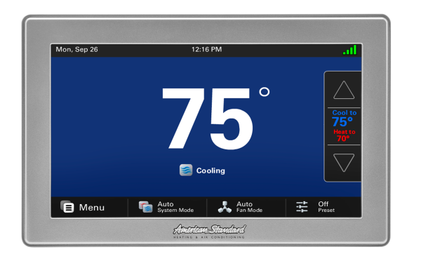 Home Thermostat Controls  Whether you are looking for a seven-day programmable thermostat, a fully automated digital control or a standard easy-to-use thermostat, American Standard temperature controls give you precise control over your home's climate. Take command of comfort and costs at the same time with a reliable home thermostat from American Standard Heating & Air Conditioning.
