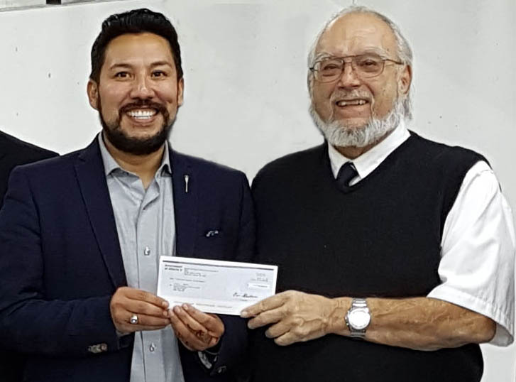 Oct 1, 2018. The Honorable Ricardo Miranda, the Minister of Culture and Tourism for Alberta presenting a CFEP cheque to the President of the CRPC.