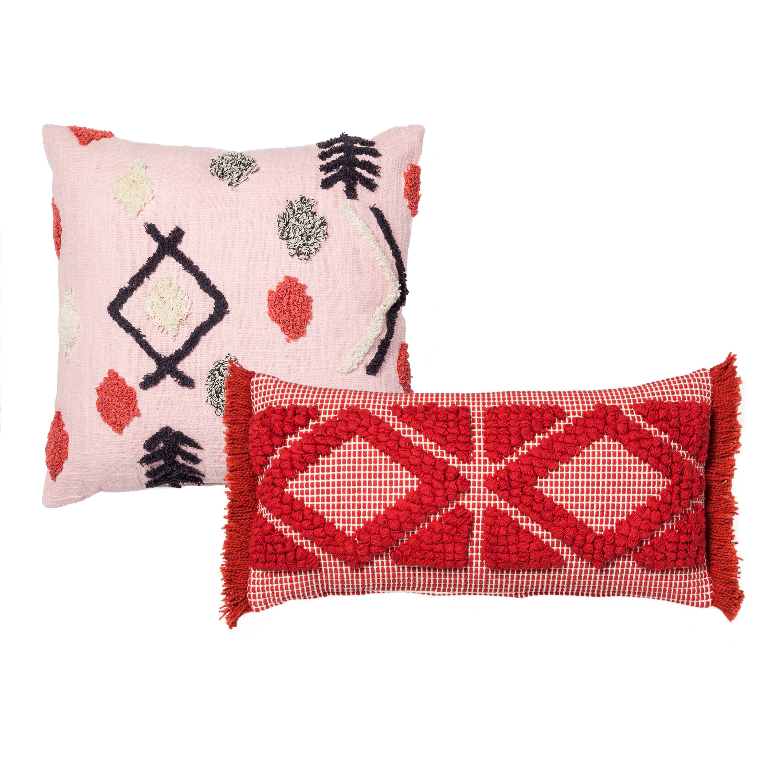 Pink Tufted Throw Pillow, $19.99Orange Diamond Skinny Lumbar Throw Pillow, $19.99 -