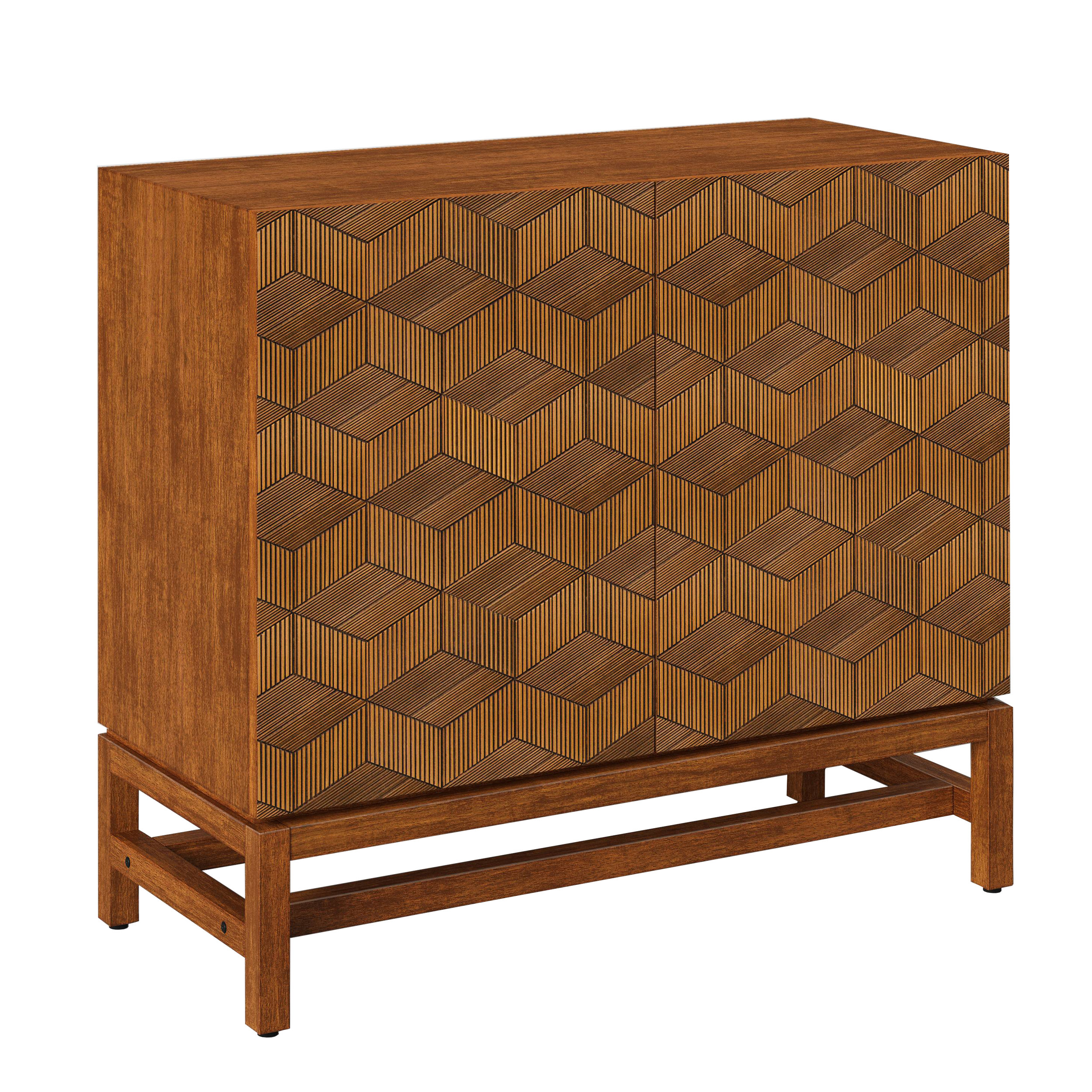 Tachuri Geometric Front 2 Door Cabinet Brown, $159.99 -