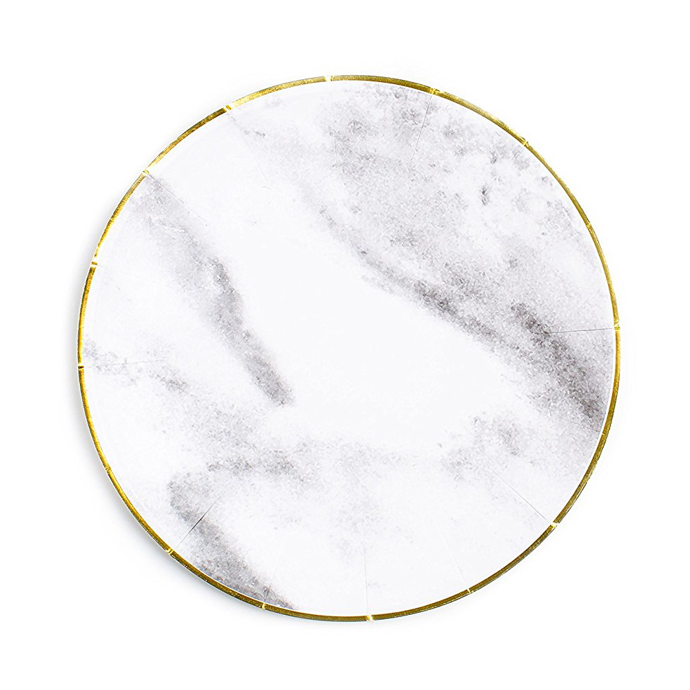 Sugar & Cloth Round Paper Plate with Gold Edge, $9.99 -