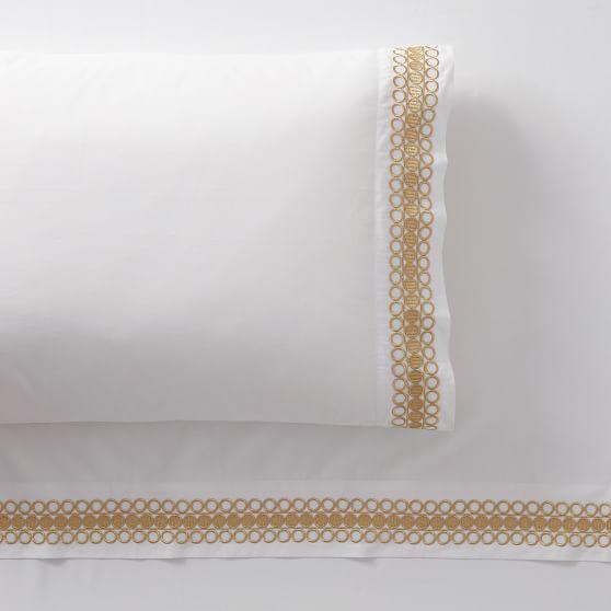 Organic Embroidered Trim Sheet Set, $32.50 – $169